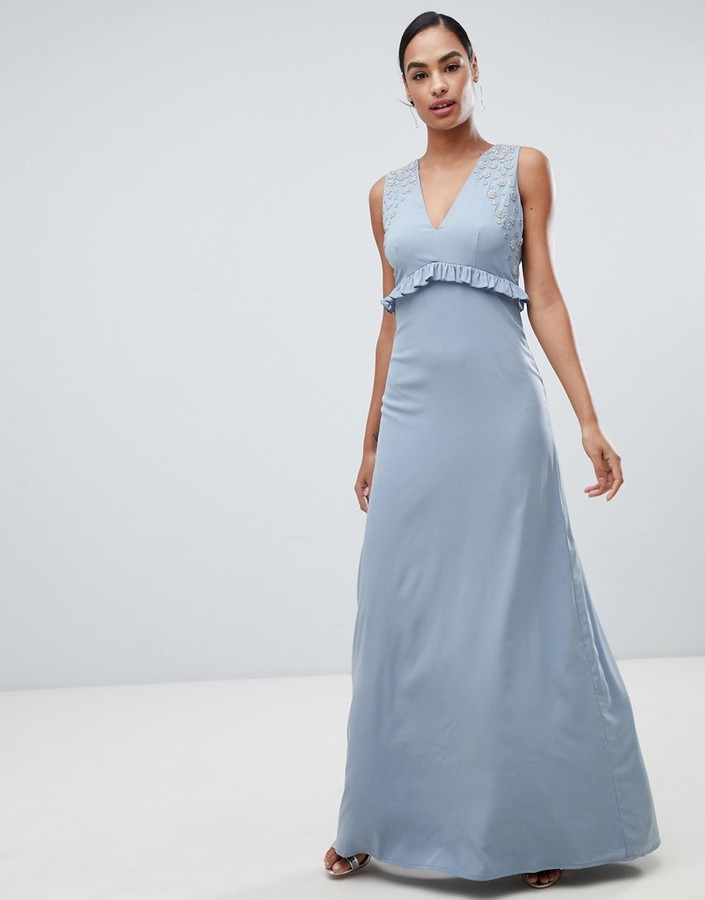 Maya maxi dress with ruffle waist
