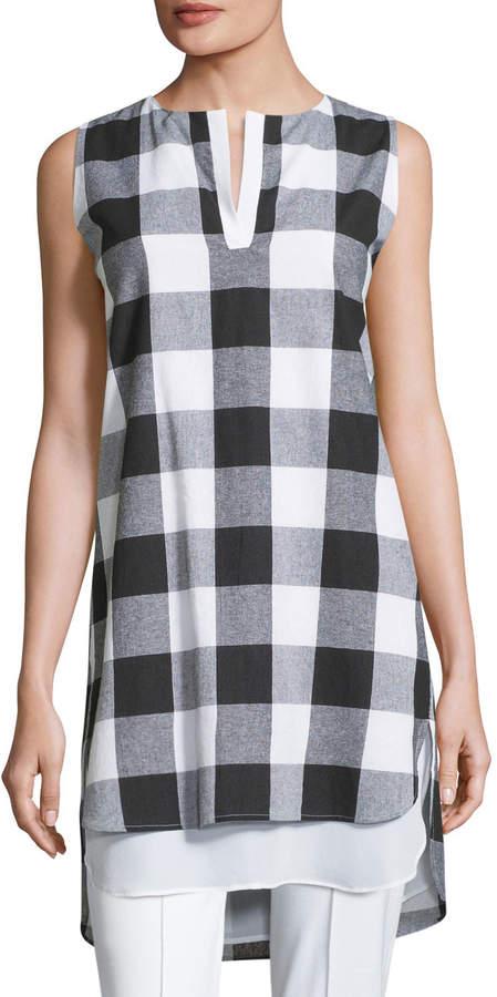 Misook Sleeveless Gingham Layered Shirt, Petite