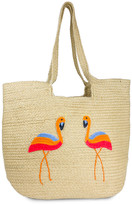 Magid Women's Totebags NATURAL - Natural & Pink Flamingo-Embroidered Tote