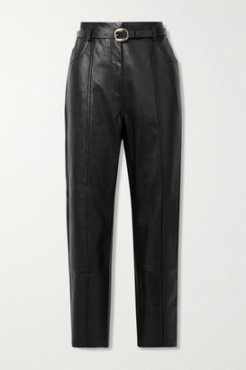 Petar Petrov Palmer B Belted Leather Straight-leg Pants - Black