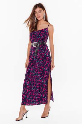Nasty Gal Womens Night Bloomer Floral Cowl Dress - navy - 4