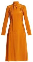 Rochas Pleated silk crepe de Chine dress