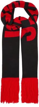 Vetements Logo-jacquard Merino-wool Scarf - Black Multi