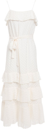 Zimmermann Tiered Polka-dot Fil Coupe Gauze Midi Dress