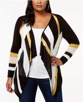 INC International Concepts Plus Size Colorblocked Cascade Cardigan, Created for Macy's