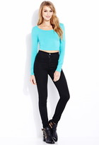 Forever 21 Basic Long Sleeve Crop Top