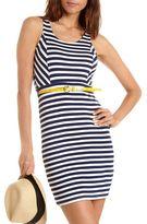 Charlotte Russe Belted Stripe Body-Con Dress