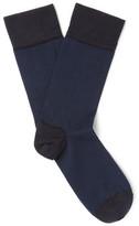 John Smedley Hera Striped Sea Island Cotton-blend Socks - Navy