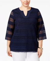 Charter Club Plus Size Lace Tunic, Only at Macy's