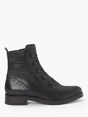 John Lewis & Partners Padme Leather Brogue Ankle Boots, Black