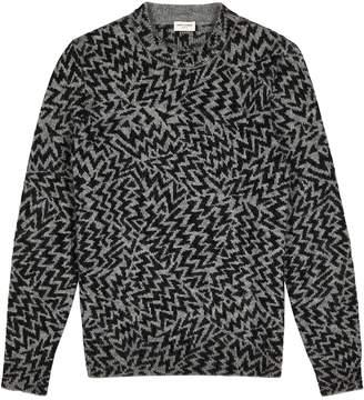 Saint Laurent Grey Intarsia Wool-blend Jumper