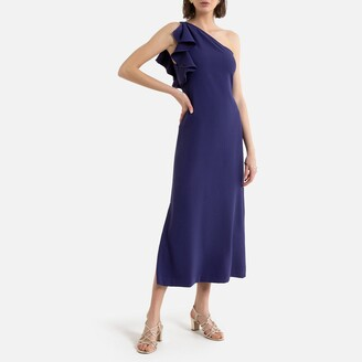 Sleeveless Occasion Midi Dress with Asymmetric Off-the-Shoulder Ruffle