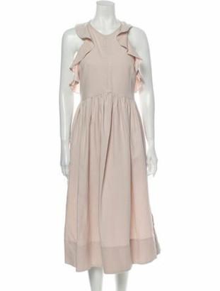 Ulla Johnson Crew Neck Midi Length Dress Pink