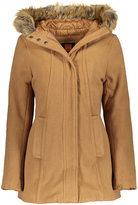 Camel Faux Fur Hood Lined Puffer Coat