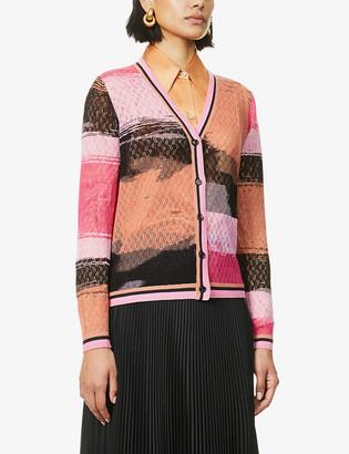 Diane von Furstenberg Manon graphic-print V-neck weave cardigan