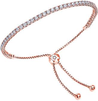 Suzy Levian 14K Rose Gold 1.30 Ct. Tw. Diamond Bolo Adjustable Bracelet