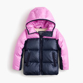 J.Crew Girls' colorblock marshmallow puffer jacket in neon