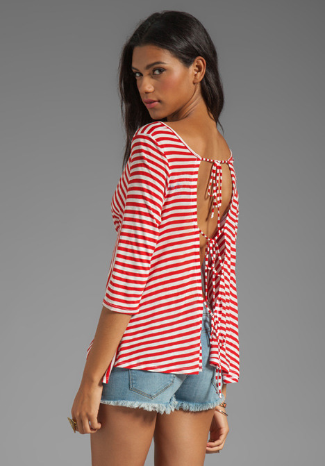 Blue Life Bare Belly Back Tie Top
