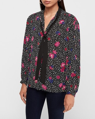 Express Spotted Floral Tie Neck Balloon Sleeve Top