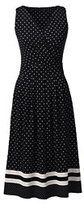 Classic Women's Fit and Flare Dress-Black Engineered Dots