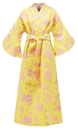 La Vie Style House - No. 332 Floral-brocade Robe - Womens - Yellow Multi