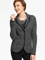 Talbots Merino Wool Basket-Weave Sweater Jacket - Marled Black/Ivory