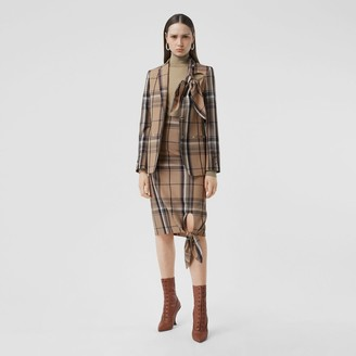 Burberry Knot Detail Check Wool Tailored Jacket