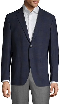 Saks Fifth Avenue Made In Italy Plaid Wool Flax Sport Coat