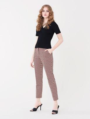 Diane von Furstenberg Sienna Jacquard Cropped Slim-Leg Pant
