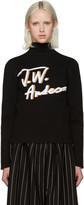 J.W.Anderson Black Pleated Logo Sweater