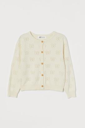 H&M Pointelle-knit Cardigan - White