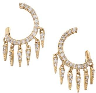 Sydney Evan 14K Yellow Gold & Diamond Circle Pave Post Earrings