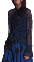 Tracy Reese Polka Dotted Sheer Blouse