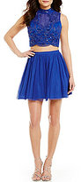 As U Wish Two-Piece Mockneck Beaded Illusion-Yoke Fit-and-Flare Party Dress