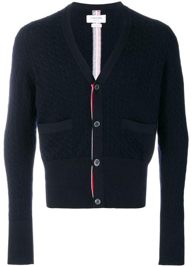 Thom Browne Center-Back Intarsia Stripe Baby Cable Merino Wool V-Neck Cardigan