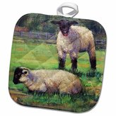 3dRose Gladys Bacon Sheep - A pair of white lambs, black faces on a field of green - 8x8 Potholder (phl_61494_1)