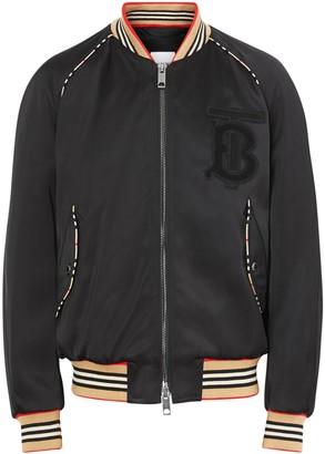 Burberry Icon Stripe Detail Monogram Motif Bomber Jacket