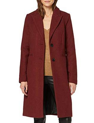 Vero Moda Women's Vmblaza Long Wool Jacket Coat, Madder Brown, Medium