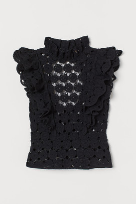 H&M Flounce-trimmed crocheted top