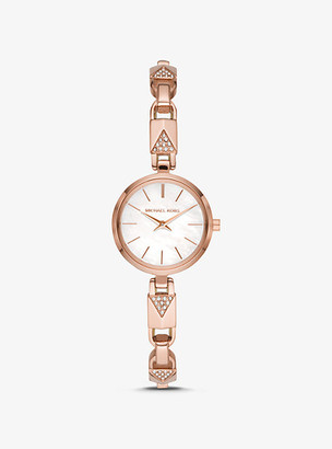 Michael Kors Jaryn Rose Gold-Tone Padlock Bracelet Watch