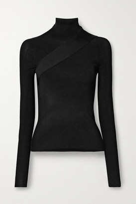 Peter Do Seatbelt Ribbed-knit Turtleneck Top