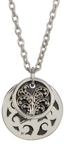 Lois Hill Sterling Silver Medium Hand Carved Double Round Disc Pendant Necklace