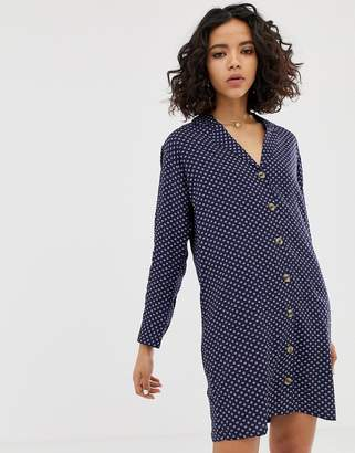 NATIVE YOUTH relaxed shirt dress in abstract spot print-Navy