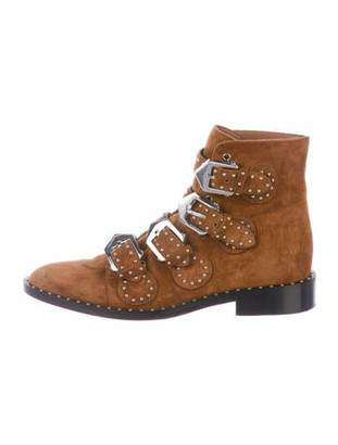 Givenchy Suede Studded Accents Combat Boots Brown
