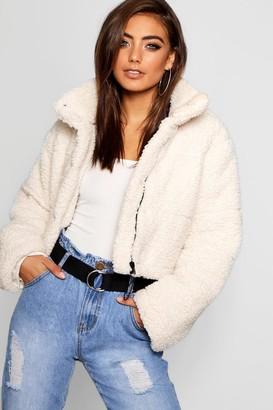 boohoo Crop Fleece Oversized Puffer Jacket