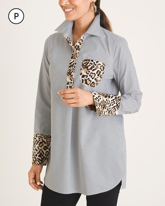 No Iron All-Seasons Petite Striped and Animal-Print Pullover Tunic
