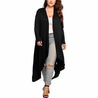 KaloryWee Autumn Winter 2018 Sale Clearance Womens Plus Size Long Sleeve Waterfall Asymmetric Drape Open Long Maxi Cardigan FW Purple