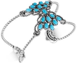 Carolyn Pollack Caroly Pollack Turquoise Spray Cluster Openwork Cuff Bracelet in Sterling Silver