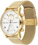 Tommy Hilfiger Tommy Hilfiger Kane White Sunray Dial Gold Stainless Steel Mesh Strap Mens Watch