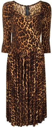 Norma Kamali Super Flair leopard-print dress